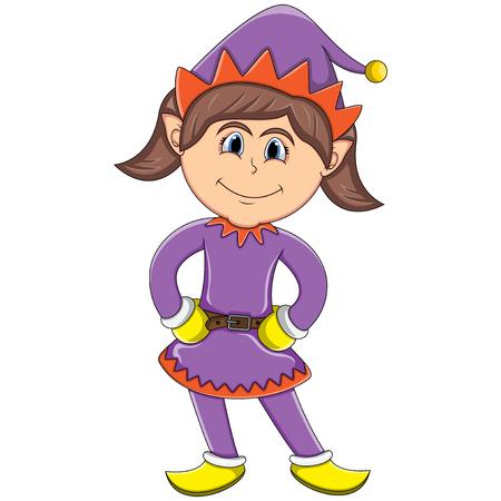 enano: Linda chica duende de Navidad - dibujos animados