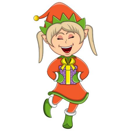 Cute Christmas elf girl.