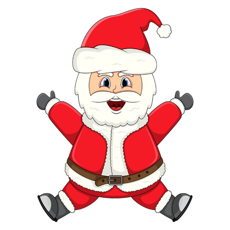 Jumping Santa Claus illustration.