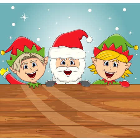 dwarf christmas: Santa claus and elf with wood plank sign for your massage