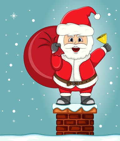 Santa Claus in chimney Christmas cartoon.