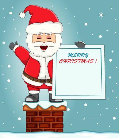 Santa Claus standing on chimney with merry Christmas banner, cartoon illustration Illustration