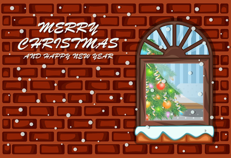 Window and christmas tree with wall background for merry christmas and happy new year