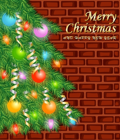 Merry Christmas and happy new year with tree  brick wall background Illustration