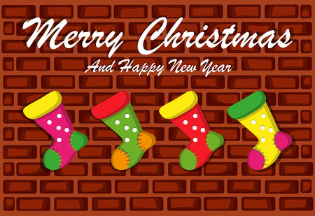 Merry Christmas And Happy New Year With Brick Wall Background And Socks Stock Illustratie