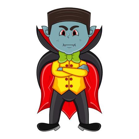 Cute Vampire Cartoon with Smile Illustration