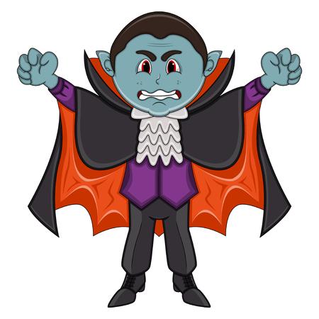 Cute Vampire Cartoon with Smile Ilustração