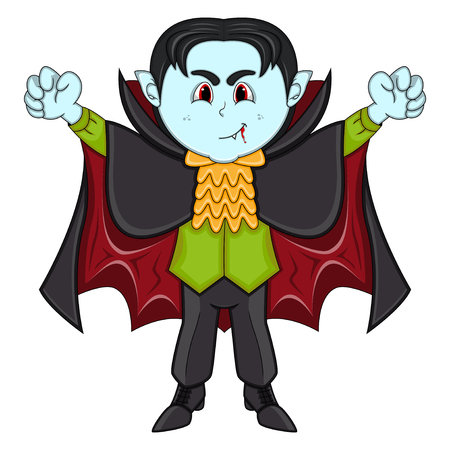 Cute Vampire Cartoon with Smile Illustration