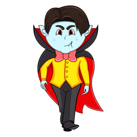 Funny Vampire Cartoon with costume