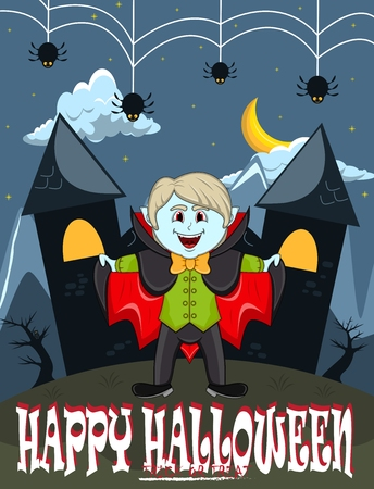 Vampire For Happy Halloween with background  イラスト・ベクター素材