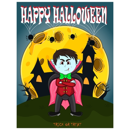 Vampire For Happy Halloween with background illustration.
