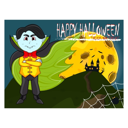 Vampire For Happy Halloween with background. Ilustração