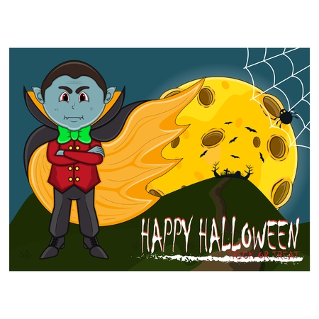 Vampire For Happy Halloween with background. Vectores