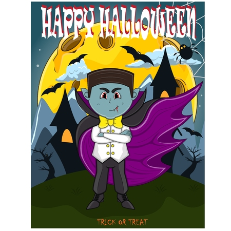 Vampire For Happy Halloween with background Illustration