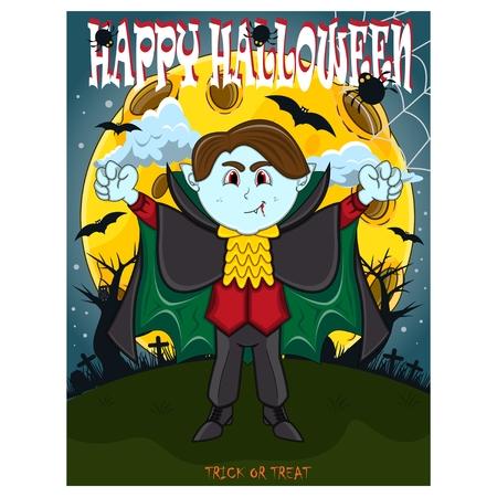 Vampire For Happy Halloween with background Ilustração