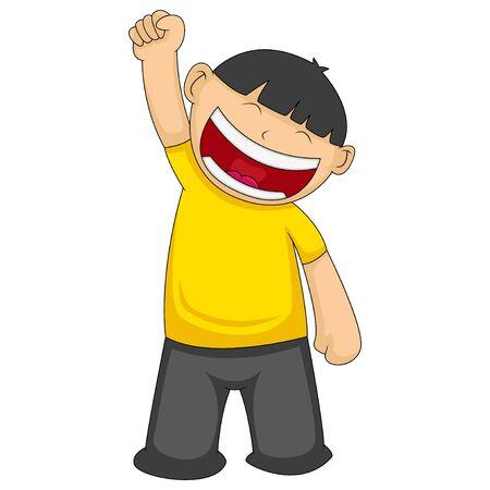 happy man raises his right hand cartoon vector