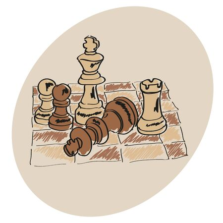 chess set: Chess on the chessboard. Vector doodle.