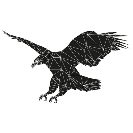 goshawk: Eagle flies. Abstract silhouette of triangles