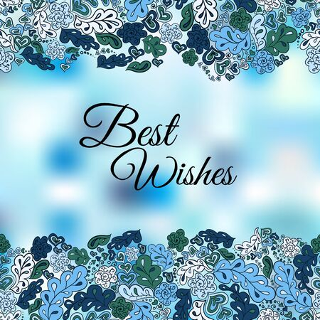 best wishes: Floral doodle background best wishes Illustration