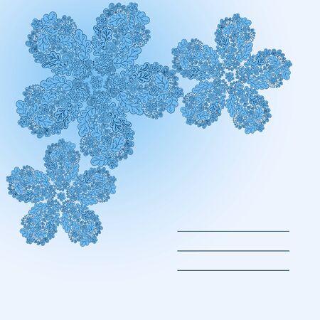 Floral doodle card in blue color Illustration