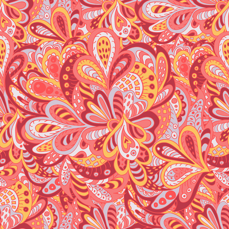 seamless pattern ethnic floral rosy and yellow