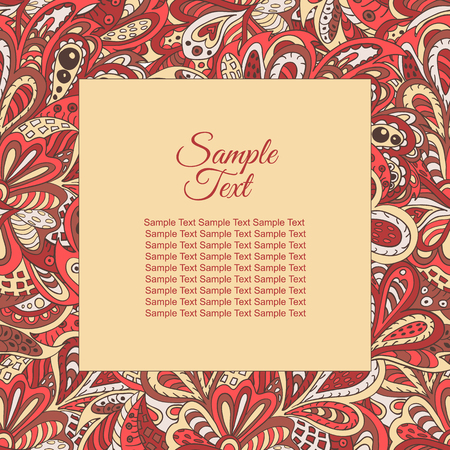 rosy: floral doodle ethnic pattern frame rosy and brown for inscriptions, photo. Cards, labels, packaging Illustration
