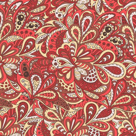 rosy: seamless pattern ethnic floral rosy and brown