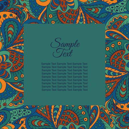 etnic: floral doodle etnic pattern frame for inscriptions, photo. Cards, labels, packaging Illustration