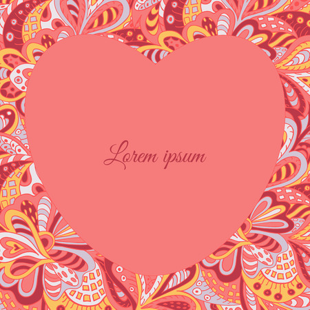 rosy: floral doodle ethnic pattern heart frame rosy for inscriptions, photo. Cards, labels, packaging
