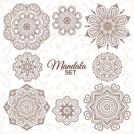 Mandala set. Round decorative ornaments for creativity. Doodle drawing, ethnic motifs. 8 images Boho Style