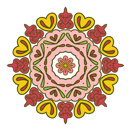 Floral lace motifs. Mandala. Zentangl relaxation. Hand drawn background. Ethnic, national image. Heart. Pink and yellow tones