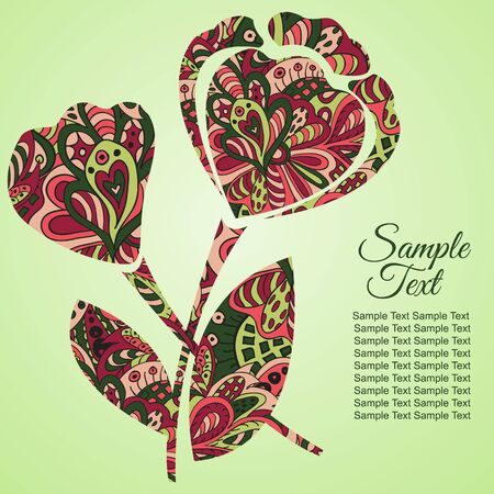tenderness: Doodle flower. Poppy. Zentangl drawing. Holiday card. Tenderness of spring Illustration