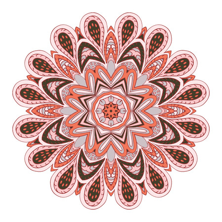 unusual angle: Mandala flower. Doodle drawing. Round ornament. Pink and olive green
