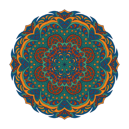 Mandala Eastern pattern. Zentangl round ornament. Brown and green tones