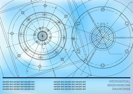 Vector Mechanical engineering drawings on a blue background. Background for inscription labels