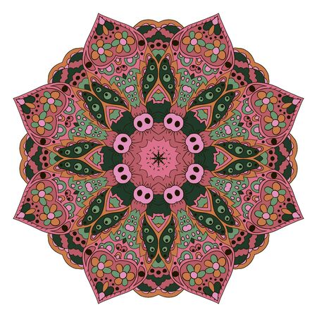 Mandala. Zentangl round ornament. Relax, meditation. Oriental pattern. Pink, green color