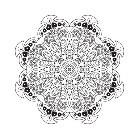 Mandala doodle drawing. Floral round ornament. Ethnic solar Arabic motifs. Zentangle. Relaxing coloring