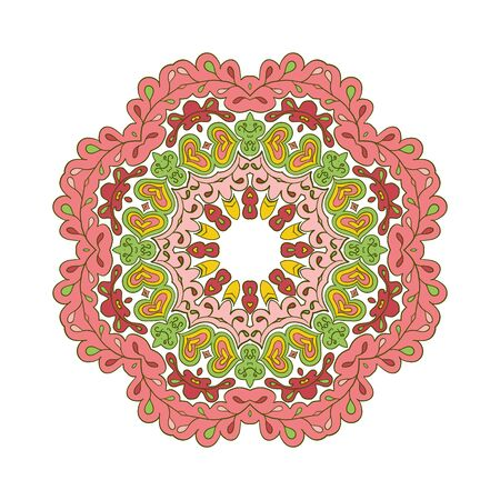 Floral lace motifs. Mandala. Zentangl relaxation. Hand drawn background. Ethnic, national image. Heart. Pink tone Illustration