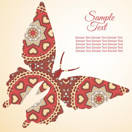tenderness: Doodle butterfly. Zentangl drawing. Holiday card. Tenderness of spring. Rosy tones