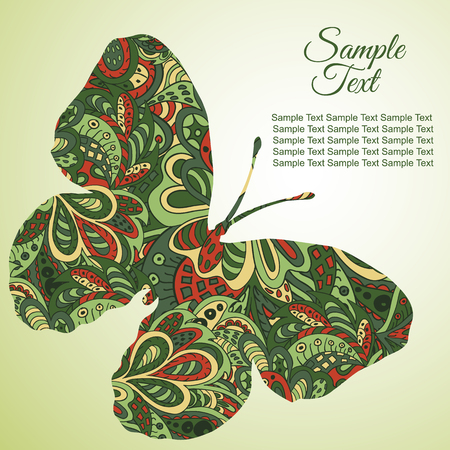 tenderness: Doodle Zentangl drawing. Holiday card butterfly. Tenderness of spring. Green tones