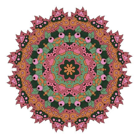 Mandala. Zentangl round ornament. Relax. Meditation. Pink