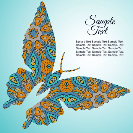 tenderness: Doodle butterfly. Zentangl drawing. Holiday card. Tenderness of spring. Blue and orange tones Illustration