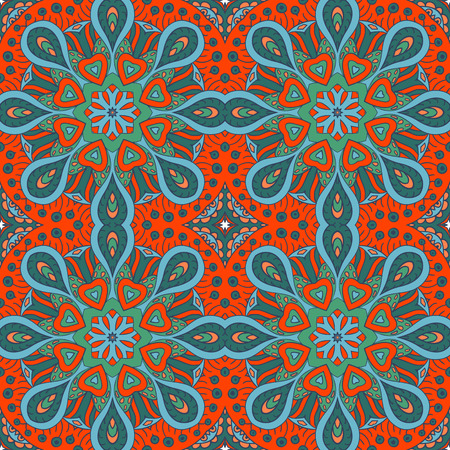 greens: Mandala doodle drawing. Colorful seamless ornament. Ethnic motives. Hearts and greens. Solar Power