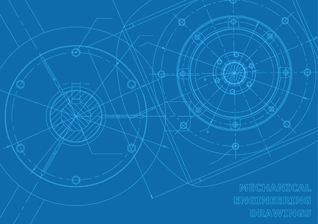Blue Mechanical engineering drawings. Vector background for inscription