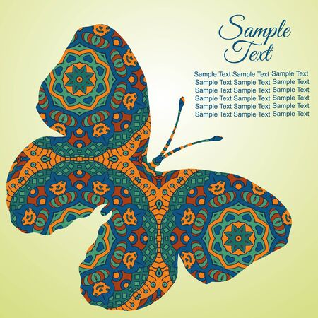 tenderness: Doodle Zentangl drawing. Holiday card butterfly. Tenderness of spring. Blue and brown colors Illustration
