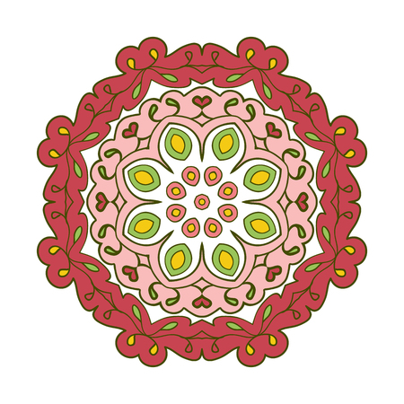 motifs: Floral lace motifs. Mandala. Zentangl relaxation. Hand drawn background. Ethnic, national image. Pink and green tones