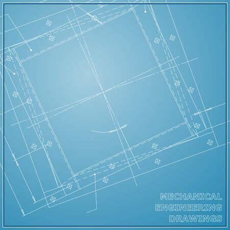 Mechanical engineering drawings. Engineering Vector blue and white background