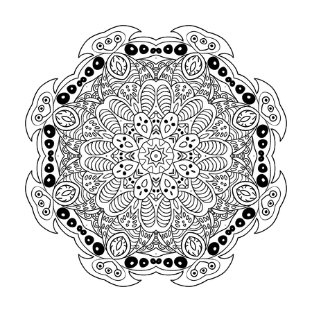 Mandala doodle drawing. floral ornament. Ethnic Arabic motifs. Zentangle. Round. Coloring