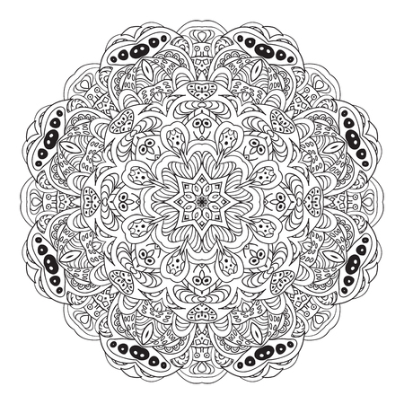 Mandala. Coloring Eastern pattern. Zentangl round ornament Illustration