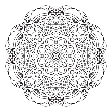 Doodle Mandala. Ornamento Redondo. Motivos étnicos. Corazones ...